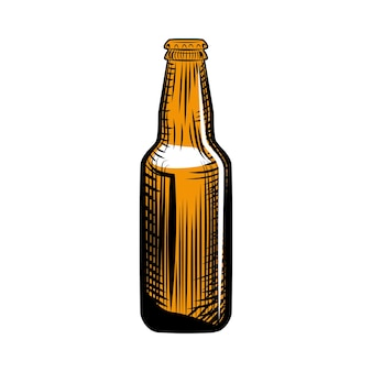 Garrafa de cerveja pilsner. estilo de gravura. mão-extraídas ilustração vetorial, isolada no fundo branco.