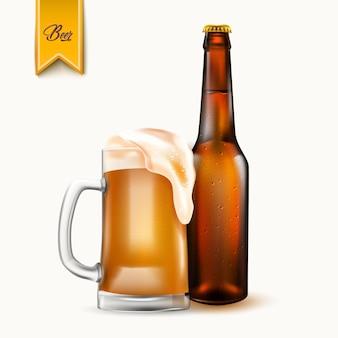 Garrafa de cerveja realista de vetor e caneca de cerveja