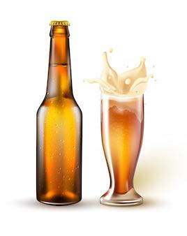 Garrafa de cerveja realista, espirrando de vidro