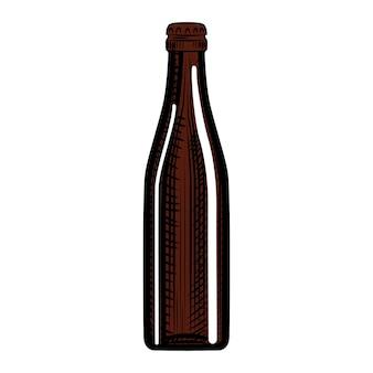 Garrafa de cerveja robusta desenhada de mão. ilustração vetorial isolada no fundo branco. estilo de gravura.