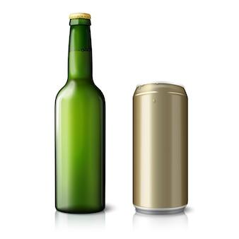 Garrafa de cerveja verde e lata dourada, com rótulos.