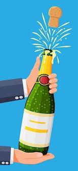 Garrafa de champanhe abrindo com pop e cortiça voando.