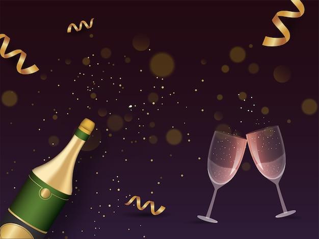 Garrafa de champanhe com copos de felicidades e fitas douradas sobre fundo roxo.