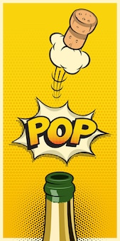 Garrafa de champanhe com cortiça voadora e palavra pop, elemento vertical de férias no estilo de quadrinhos.
