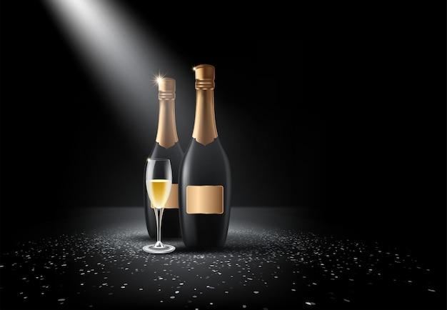 Garrafa de champanhe, copos
