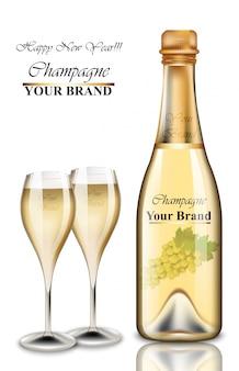 Garrafa de champanhe de ano novo e cartão de óculos.