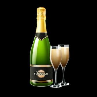 Garrafa de champanhe e dois copos em fundo preto