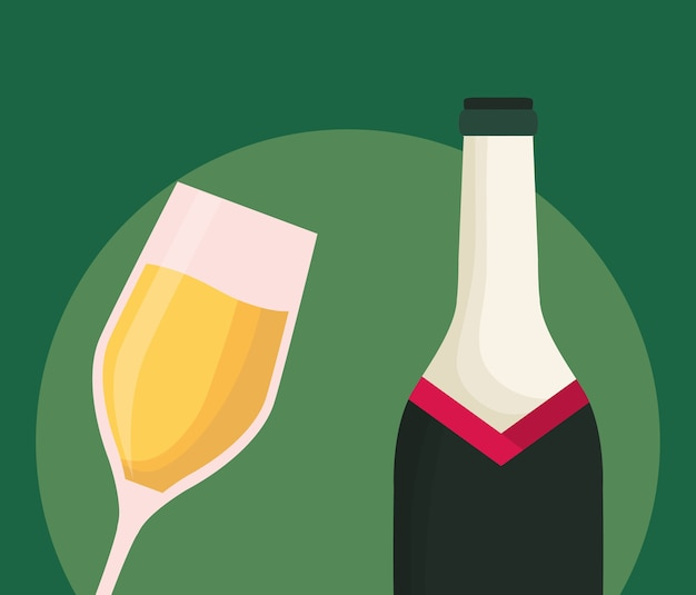 Garrafa de champanhe e vidro