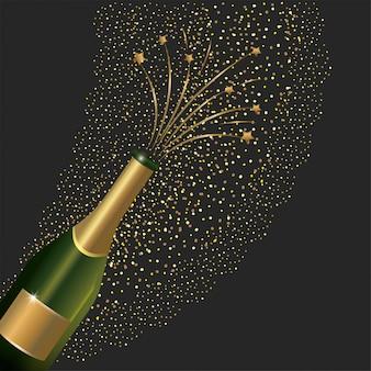 Garrafa de champanhe espirrando para o ano novo