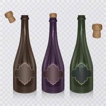 Garrafa de champanhe realista com rolha em fundo transparente