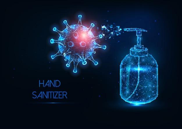 Garrafa de desinfetante para as mãos baixa e brilhante poligonal futurista contra banner de coronavírus