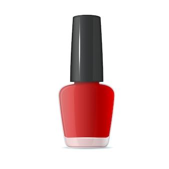 Garrafa de esmalte vermelho sobre fundo branco.
