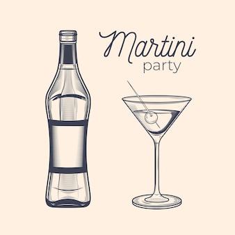 Garrafa de gravura vintage e copo de martini