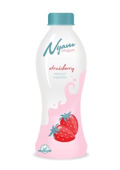 Garrafa de iogurte com design.
