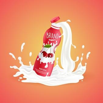 Garrafa de iogurte de cereja com respingo de leite ilustração vetorial