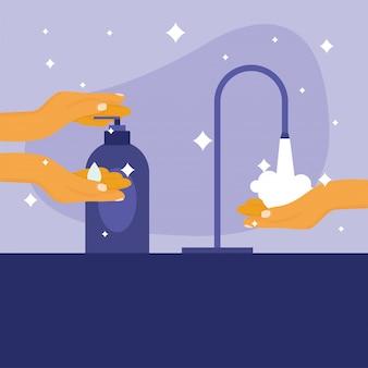 Garrafa de lavagem e desinfetante para as mãos