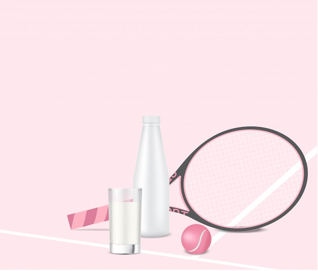 Garrafa de leite 3d realista ou agitador de água com vidro, raquete e bola de tênis