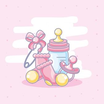 Garrafa de leite com conjunto de objetos para menina