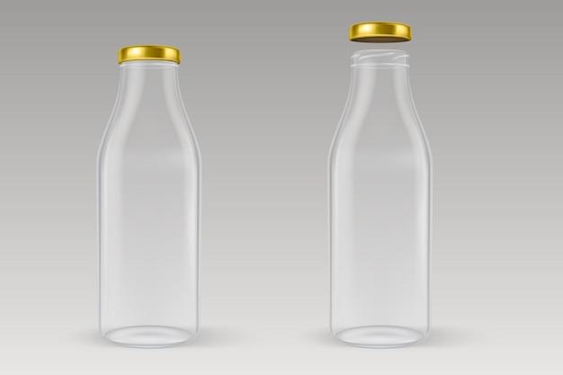 Garrafa de leite de vidro vazio fechada transparente realista com tampa dourada closeup isolada