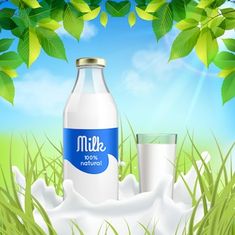 Garrafa de leite e copo na natureza