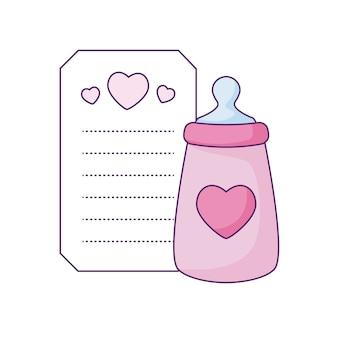 Garrafa de leite no cartão com decoração de corações