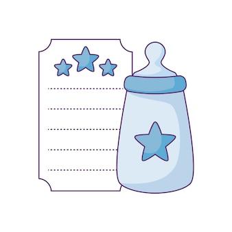 Garrafa de leite no cartão com decoração de estrelas