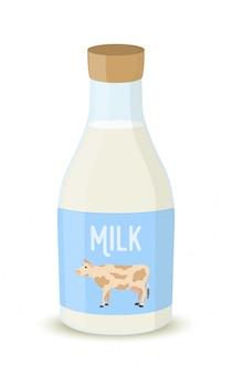 Garrafa de leite, produtos agrícolas. bebida natural.