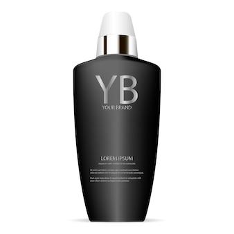 Garrafa de loção de colágeno marca cosméticos em preto