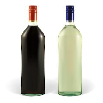 Garrafa de martini com rótulos em branco. a ilustração contém malhas de gradiente. o rótulo pode ser removido.