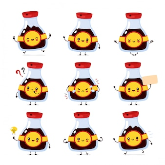 Garrafa de molho de soja engraçado feliz bonito conjunto coleção. desenho animado personagem ilustração ícone do design. isolado no fundo branco