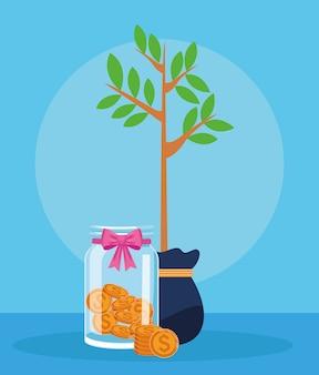 Garrafa de planta e vidro com moedas de dinheiro sobre azul