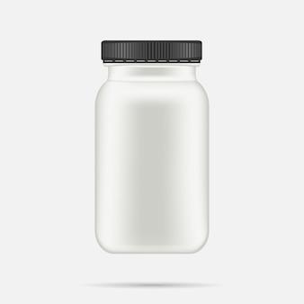 Garrafa de plástico branca fosca com tampa preta para vitaminas, comprimidos, pílulas.