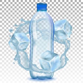 Garrafa de plástico com água e cubos de gelo.