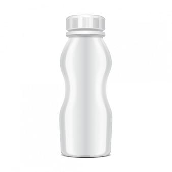 Garrafa de plástico com tampa de rosca para laticínios. para o leite, beba iogurte, creme, sobremesa. modelo de pacote realista