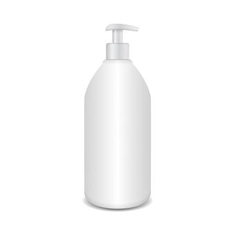 Garrafa de plástico cosmética realista com dissipador. modelo de marca