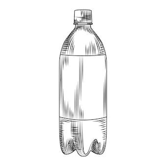 Garrafa de plástico desenhada de mão isolada no fundo branco. estilo vintage de gravura. ilustração vetorial.