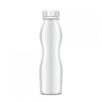 Garrafa de plástico em branco com tampa de rosca para produtos lácteos. para o leite, beba iogurte, creme, sobremesa. modelo de pacote realista