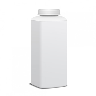 Garrafa de plástico quadrada com tampa de rosca para laticínios. para o leite, beba iogurte, creme, sobremesa. modelo de pacote realista