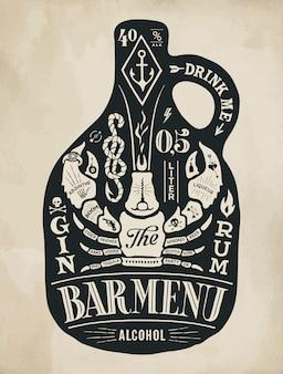 Garrafa de pôster de álcool com letras de mão desenhada