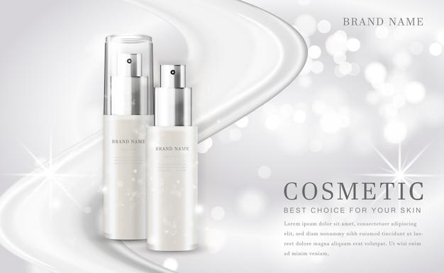 Garrafa de produto de ilustração de maquiagem cosmética com fundo branco brilhante
