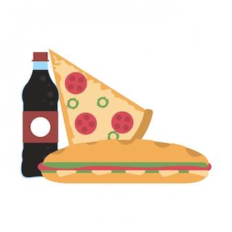 Garrafa de refrigerante e pizza com sanduíche