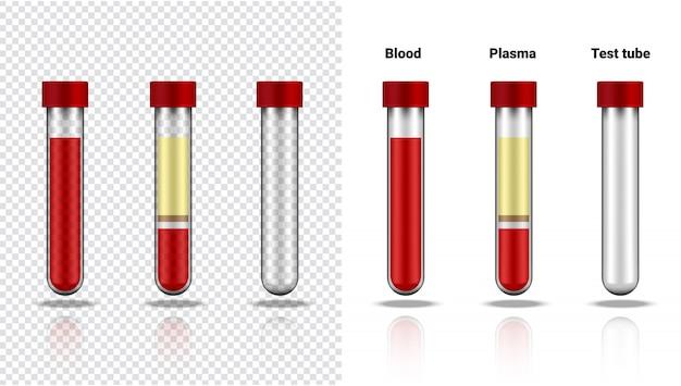 Garrafa de sangue e tubo de ensaio transparente realista realista de plasma plástico ou vidro para ciência e aprendizado em branco ilustração assistência médica e medicina