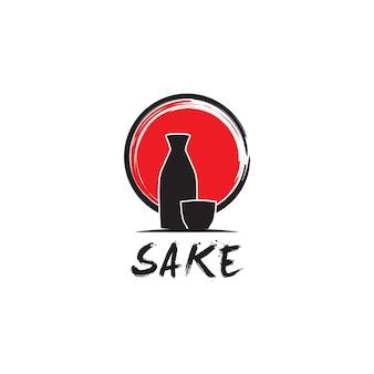 Garrafa de saquê japonês rústico ao pôr do sol símbolo de bebida oriental do japão inspiração para o design do logotipo
