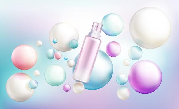 Garrafa de spray de cosméticos, tubo de beleza cosméticos com tampa de bomba