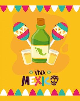 Garrafa de tequila e maracas para o viva mexico