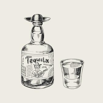 Garrafa de tequila glass shot e rótulo para poster retro ou banner. esboço vintage desenhado mão gravada. estilo xilogravura. ilustração.