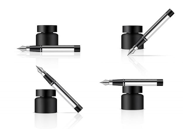 Garrafa de tinta 3d realista e caneta