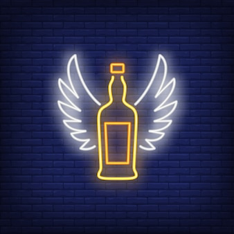 Garrafa de uísque com sinal de néon de asas de anjo