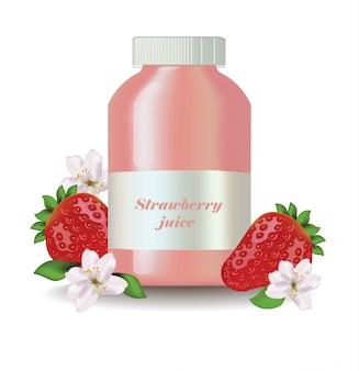 Garrafa de vetor realista de suco de morango. etiqueta da embalagem do produto