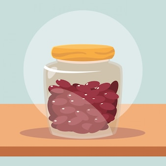 Garrafa de vidro com feijão